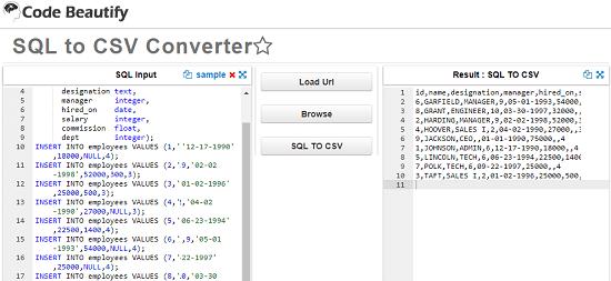 Code Beautify SQL to CSV Converter