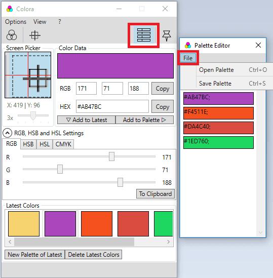 Colora color palette creator
