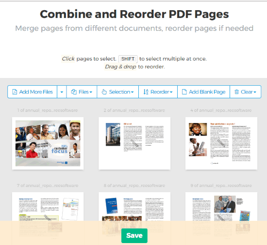 Combine and Reorder PDF Pages online