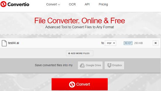 Convertio AI to PDF conversion online