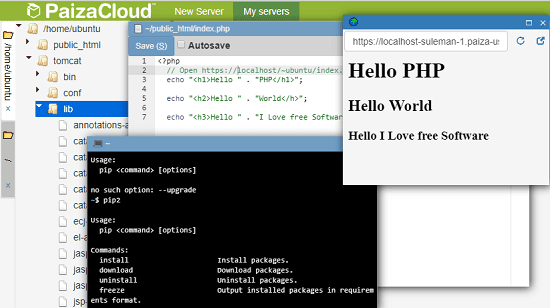 Free Cloud Based IDE with Terminal, Database, Web Server