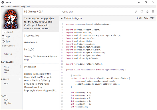 Free Code Snippet Manager Based on GitHub Gist with Markdown, Search