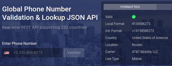 Free Global Phone Number Lookup Website with 232 Countries, API