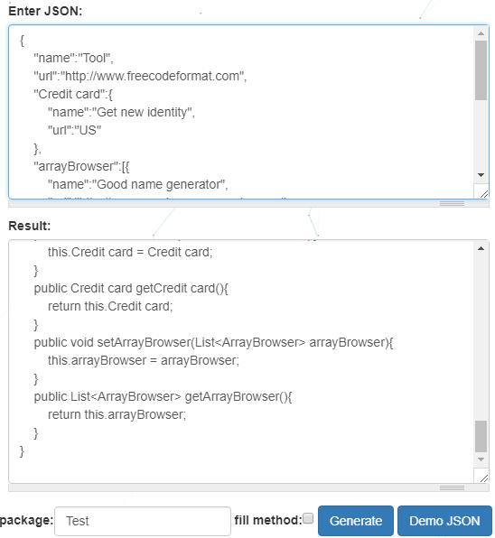 FreeCodeFormat free JSON to pojo converter
