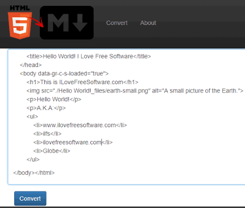 Html2Markdown interface