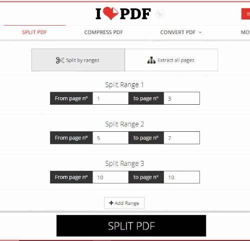 Ilovepdf splitter interface