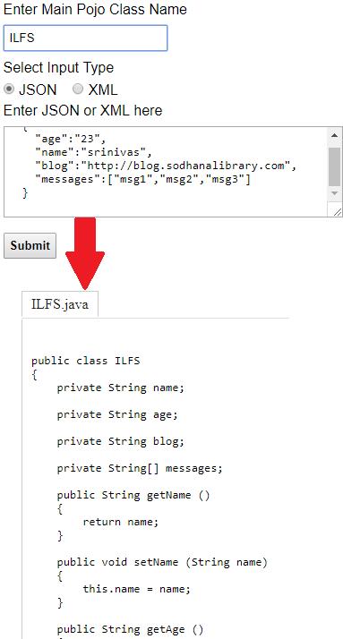 JSON to Java Pojo Classes Online
