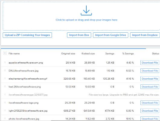 Kraken.io web interface