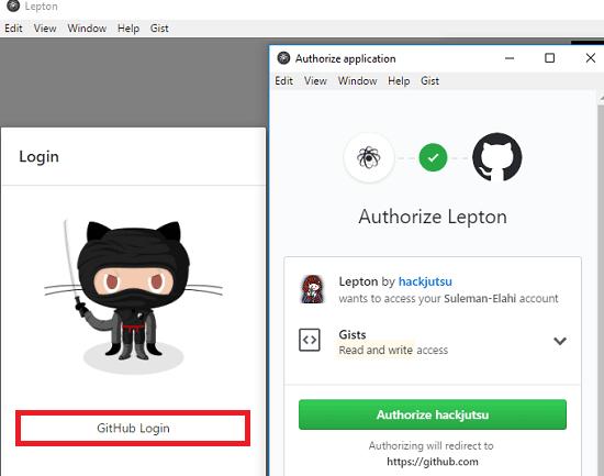 Lepton github login