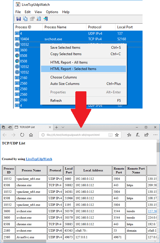 LiveTcpUdpWatch export tcp udp activity report