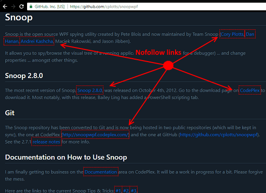 NoFollow chrome extension detecting nofollow links