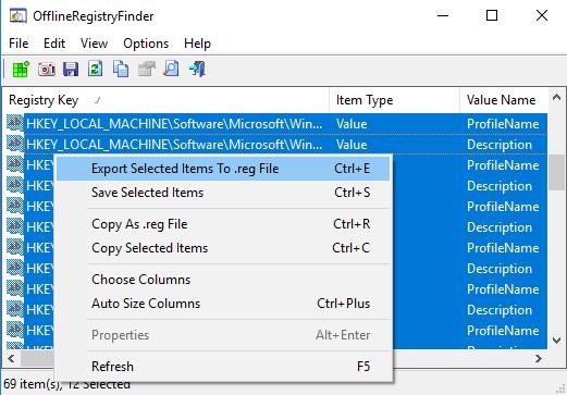 Offline Registry search export result as reg file