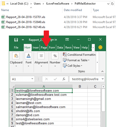 PDF Mail Extractor in action