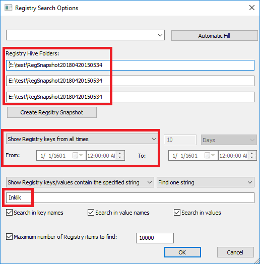 Registry search options