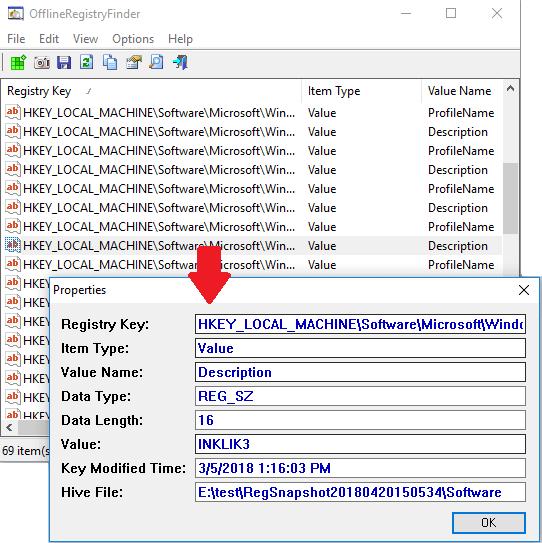 Registry search result