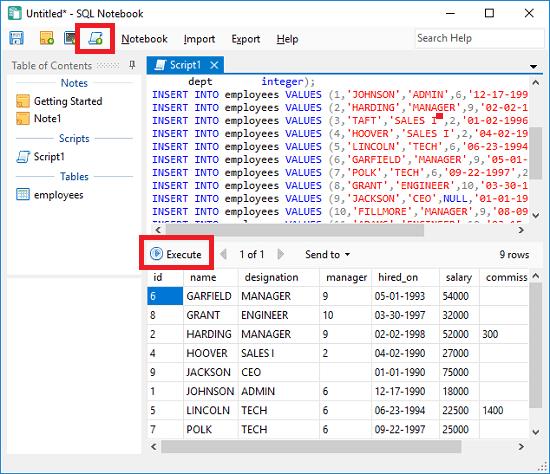SQL Notebook run SQL script