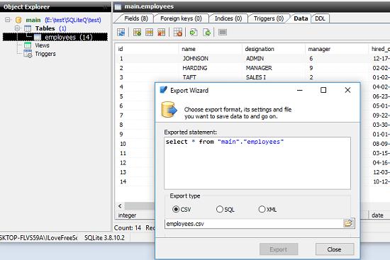 SQLite Query save CSV