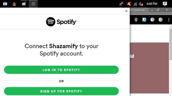 Zamify authorization via Spotify