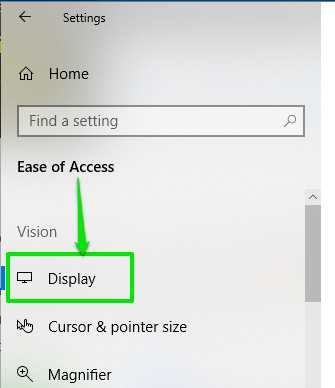 access display in ease of access