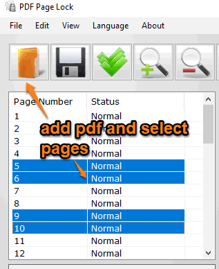 add pdf and select pages