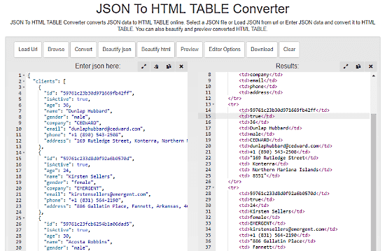 online JSON to HTML Table converter
