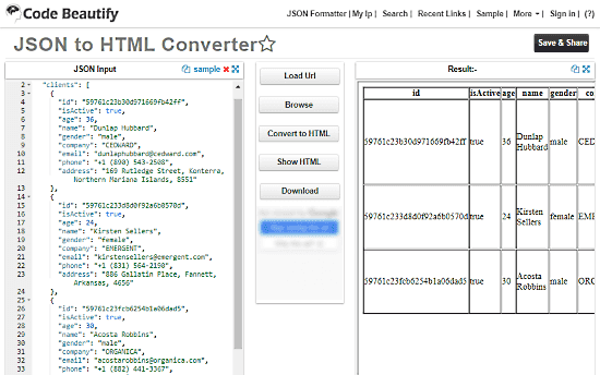 Convert JSON To HTML Table Online With These 5 Free Websites
