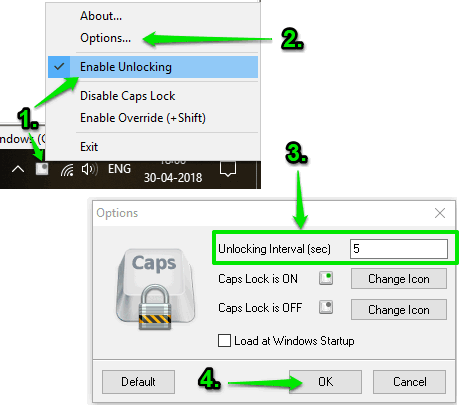 enable unlocking option and set unlocking interval