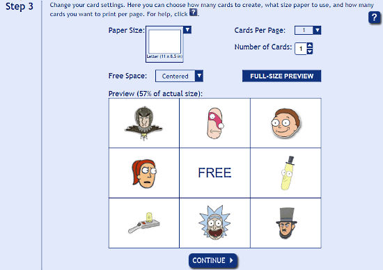 make picture bingo card online for free