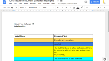 extract highlighted text in google docs as separate document