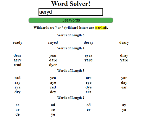 Word Scramble Solver