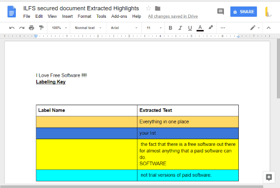 highlighted text extracted as separate document in google docs