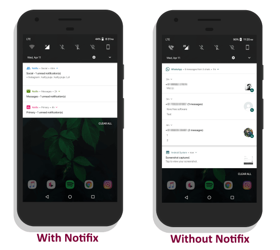 Notifix notification manager vs Stock notification manager
