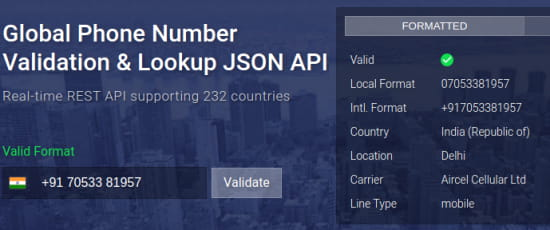 numverify web phone verification