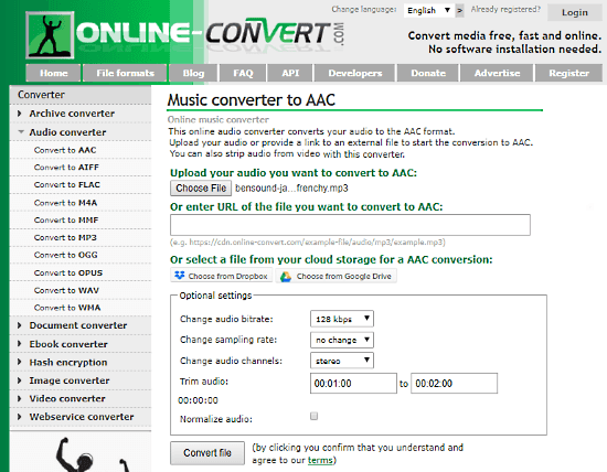 online MP3 to AAC converter free
