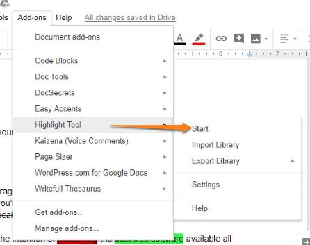open highlight tool sidebar