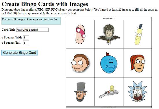 online picture bingo card generator