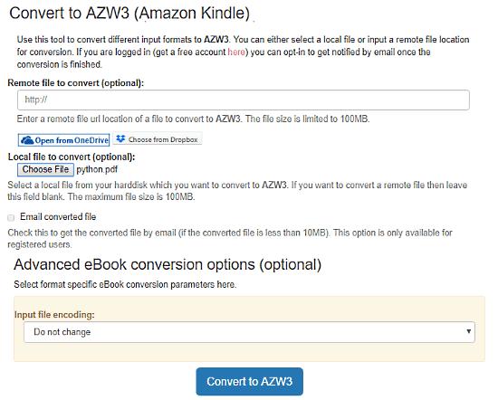 convert pdf to azw3 free