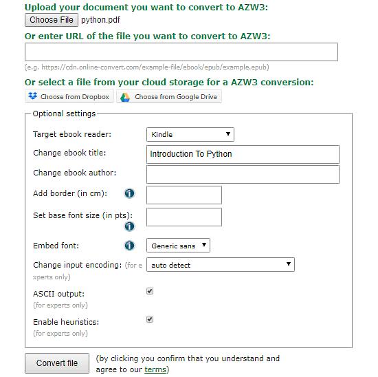 convert pdf to azw3 online