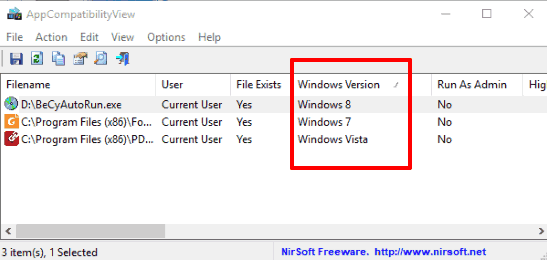 programs with their windows version compatibility mode