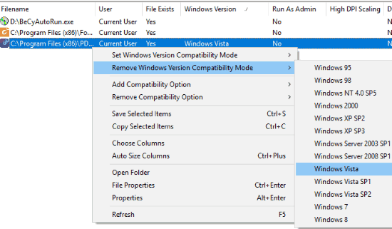 remove windows version compatibility mode