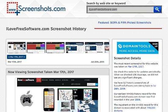 Internet Archive Wayback Machine Alternative: screenshots.com