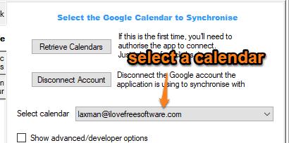 select a google calendar