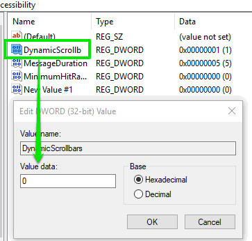set 0 as value data for dynamic scrollb value