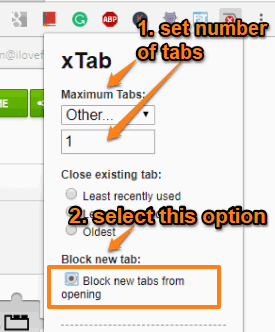 set number of tabs and select block new tabs from opening option