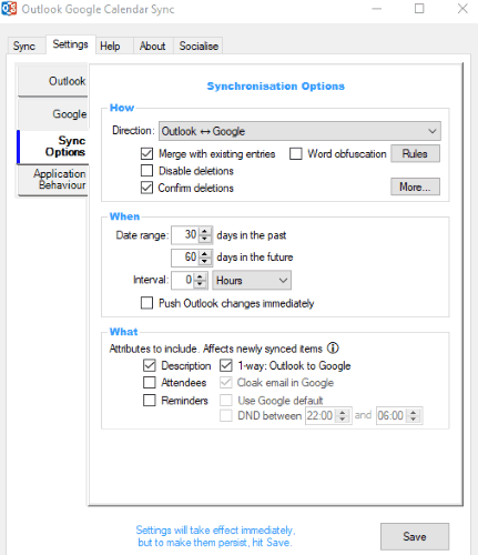 set sync options