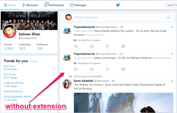 How to Hide Twitter Feeds from Timeline on Chrome