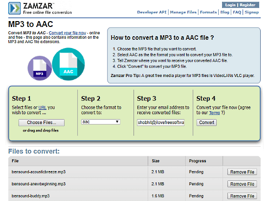 online MP3 to AAC converter