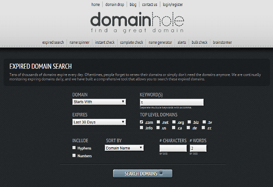 search expired domains