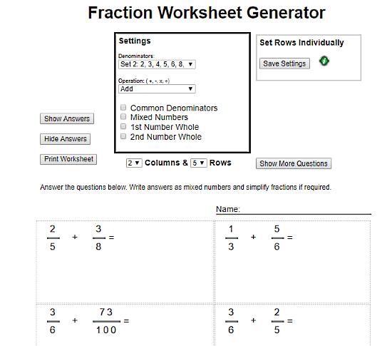 free math worksheet generator