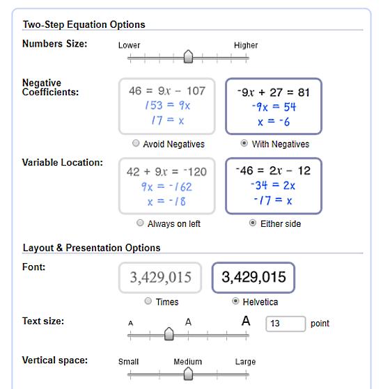 online algebra worksheet generator